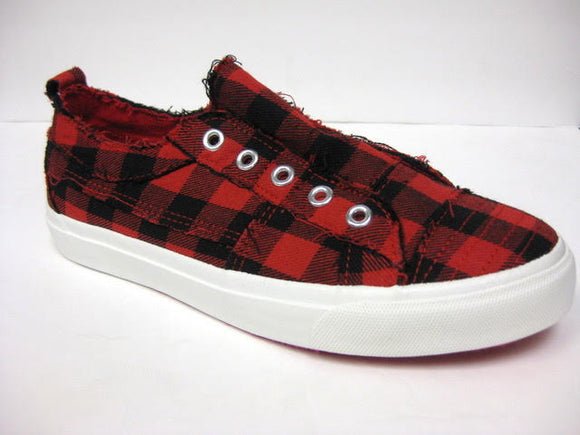 Corkys Women's Babalu Casual Slip On Sneaker Red Plaid 51-0121