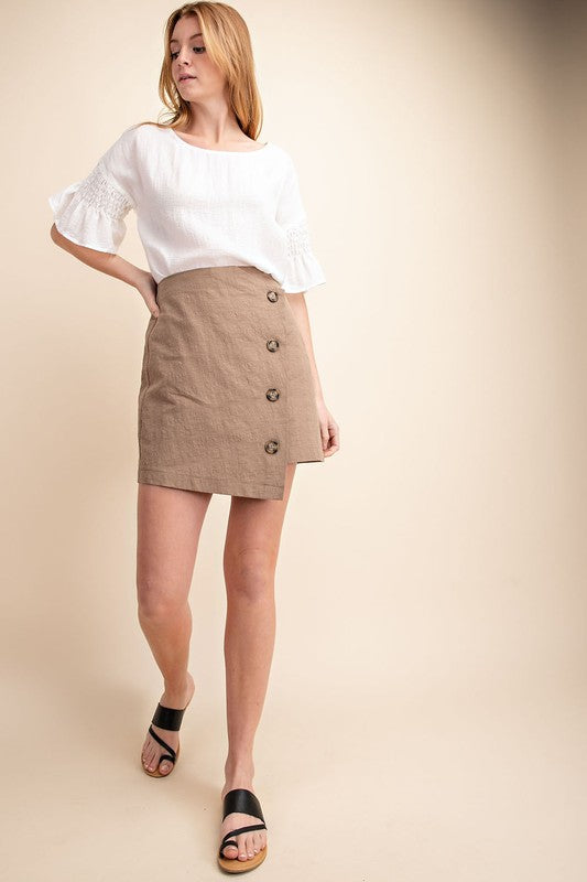 Mittoshop Women's Button Down Mini Skirt