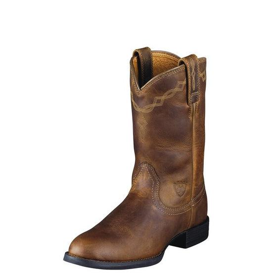 "Ariat Women's 9"" Heritage Roper Western Boot - Distressed Brown 10000797 - ShoeShackOnline"