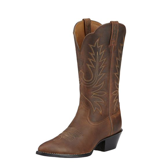 "Ariat Women's 11"" Heritage Western Boots - Distressed Brown 10001021 - ShoeShackOnline"