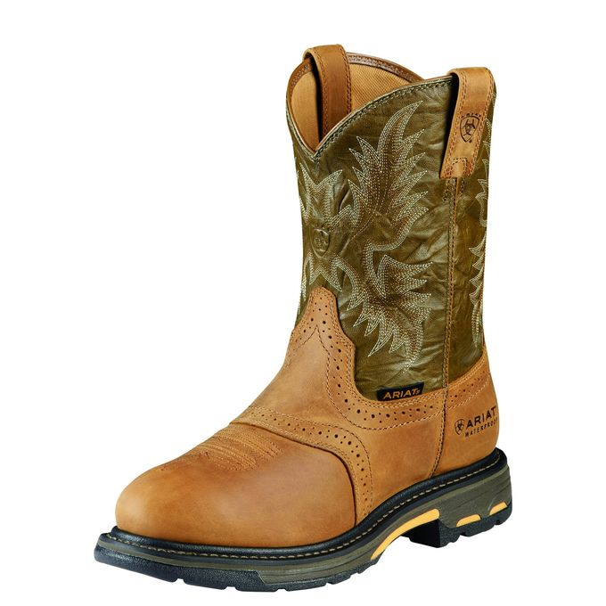 "Ariat Men""s 10"" WorkHog Pull-On H20 WP Work Boots - Aged Bark/Army Green 10008633"