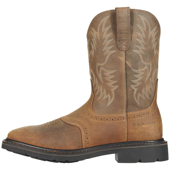 "Ariat Men's 10"" Sierra Square Toe Work Boots - Aged Bark 10010148 - ShoeShackOnline"