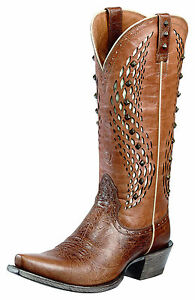 Ariat Women's Eldorado Studded Inlay Snip Toe Western Boot - Brown 10010233 - ShoeShackOnline