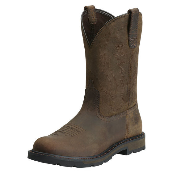 "Ariat Men's 10"" Groundbreaker Pull On Work Boot - Brown 10014238 - ShoeShackOnline"