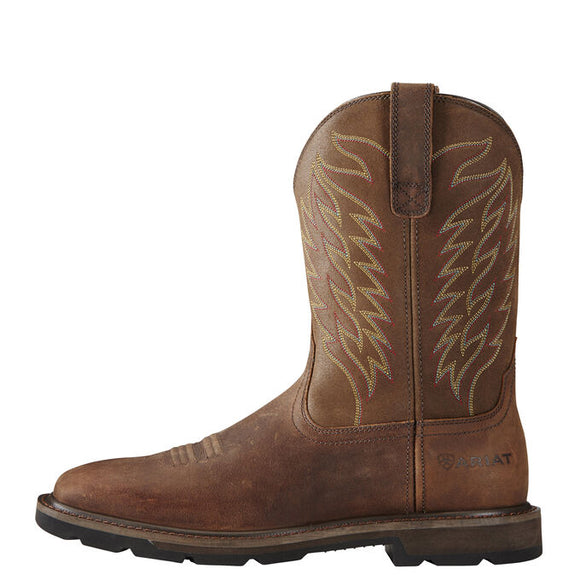 "Ariat Men's 10"" Groundbreaker Square Toe Pull-On Work Boots - Brown 10020059 - ShoeShackOnline"