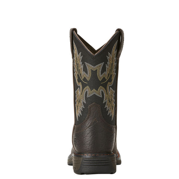 "Ariat Kid's 8"" Workhog Wide Square Toe Western Boot - Bruin Brown 10021452 - ShoeShackOnline"
