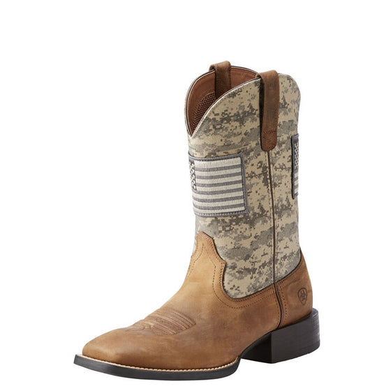 "Ariat Men's 11"" Sport Patriot Western Boots - Brown/Sage Camo 10023359 - ShoeShackOnline"