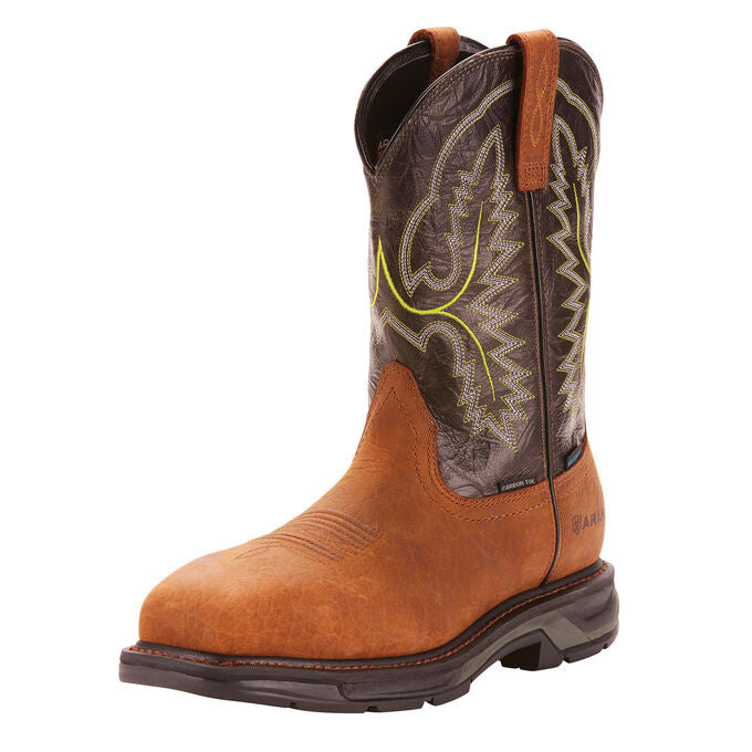 "Ariat Men's 11"" Workhog XT Waterproof Composite Toe Work Boot - Tumbled Bark/Dark Forest 10024966 - ShoeShackOnline"