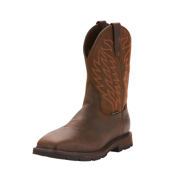 "Ariat Men's 10"" Groundbeaker Wide Square Toe Waterproof Steel Toe Work Boot - Dark Brown 10024992"