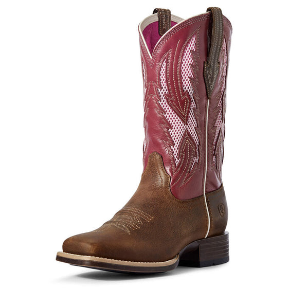 "Ariat Women's 11"" Blackjack VentTEK Square Toe Western Boot - Wheat/Fuschia 10031462 - ShoeShackOnline"