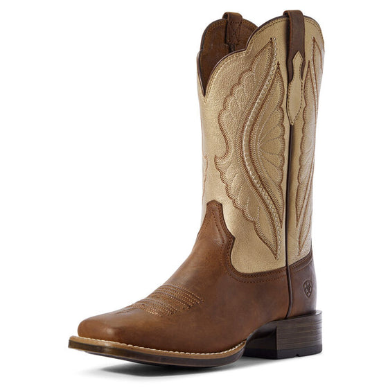 "Ariat Women's 11"" PrimeTime Western Boot - Sassy Brown/Pop Gold 10031646 - ShoeShackOnline"