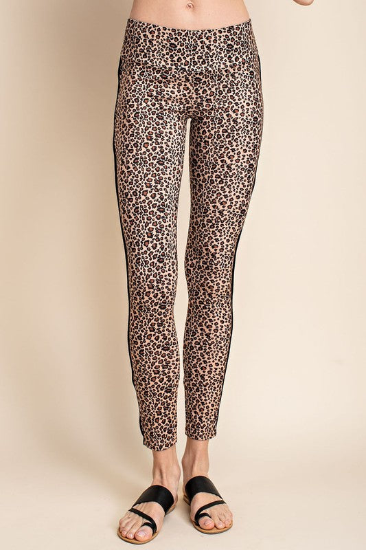 Mittoshop Women's Leopard Piping Side Leggings