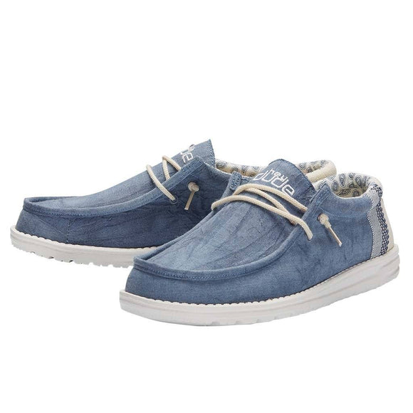 Hey Dude Men's Wally Canvas Slip On Shoe - Natural Blue 110792132