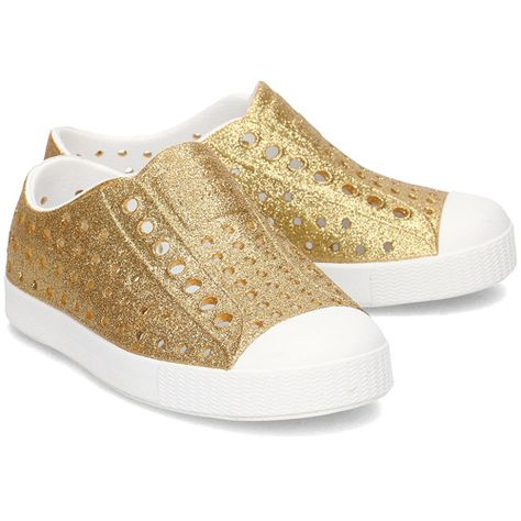 Native Kid's Jefferson Bling Sneaker - Gold Bling/Shell White 13100112-7101 - ShoeShackOnline
