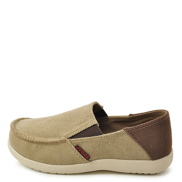 Crocs Kid's Santa Cruz Canvas Loafer - Khaki/Espresso 15576-23G
