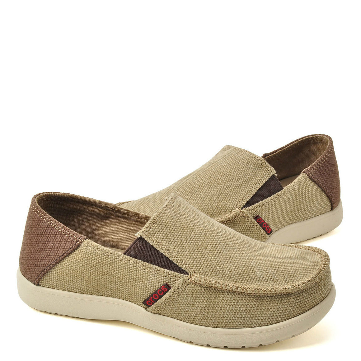 Crocs Kid's Santa Cruz Canvas Loafer - Khaki/Espresso 15576-23G - ShoeShackOnline