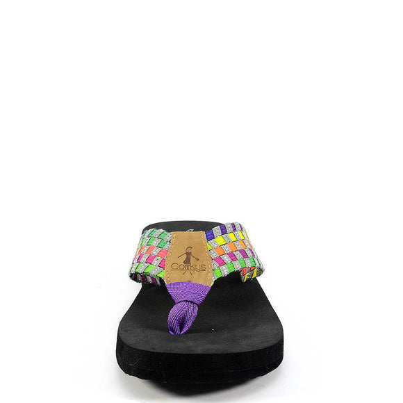 Corkys Women's Elastic Flip Flop - Bright Multi 20-2025 - ShoeShackOnline