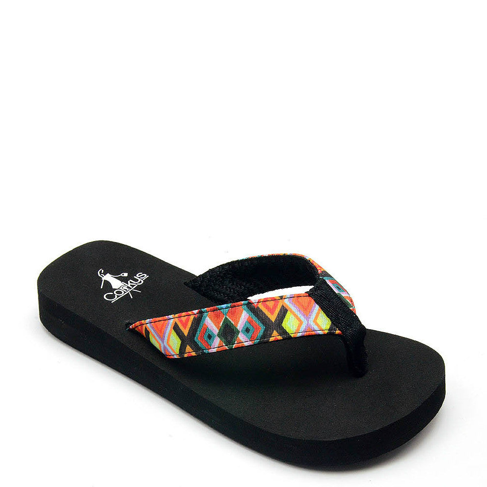 Corkys Kid's Meg Flip Flop - Black Multi 20-8042