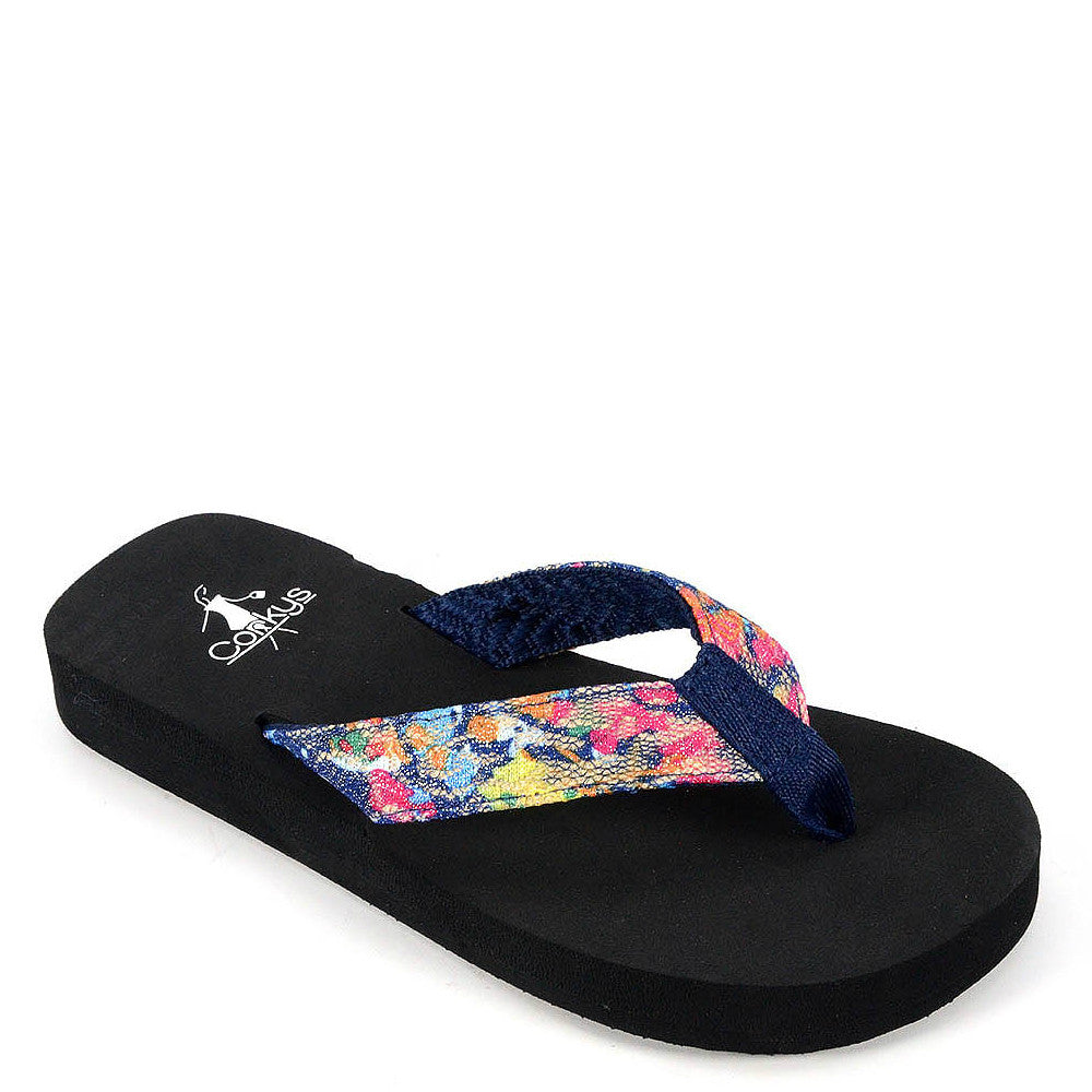 Corkys Kid's Sister Flip Flop - Blue Multi 20-8074 - ShoeShackOnline