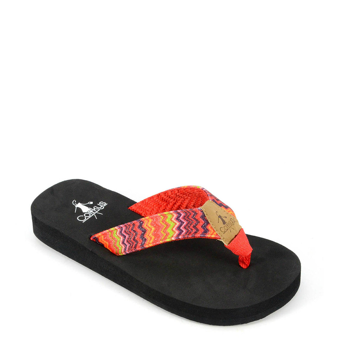 Corkys Kid's Fish Flip Flop - Red Multi 20-8078