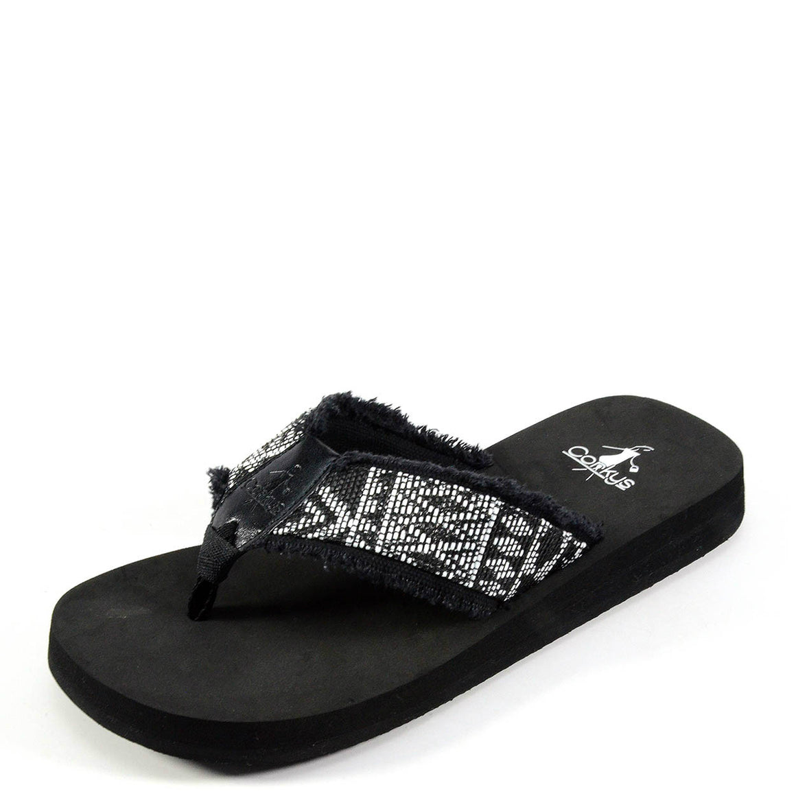 Corkys Women's Scallop Sandal - Black/White 20-8085