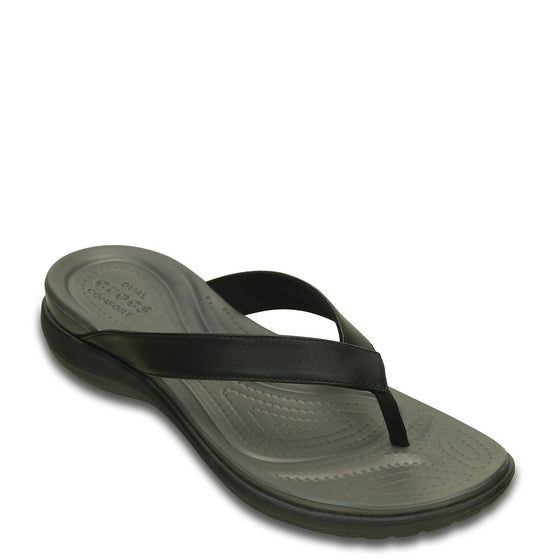 Crocs Women's Capri V Flip Flop - Black/Graphite 202502-02S - ShoeShackOnline