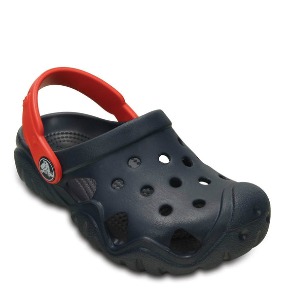 Crocs Kid's Swiftwater Clog - Navy/Flame 202607-4BA - ShoeShackOnline