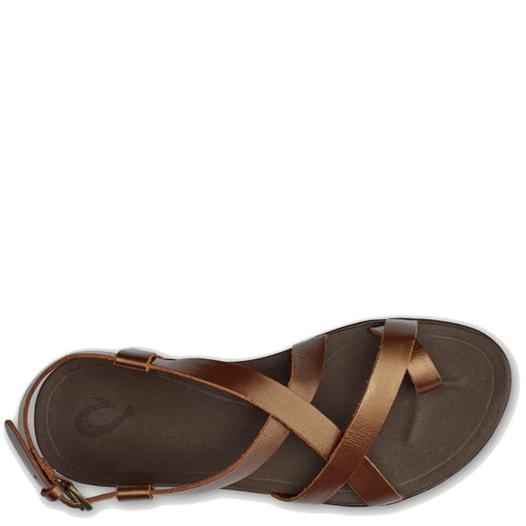 Olukai Women's Upena Leather Buckle Sandal - Bronze/Bronze 20288-8181 - ShoeShackOnline