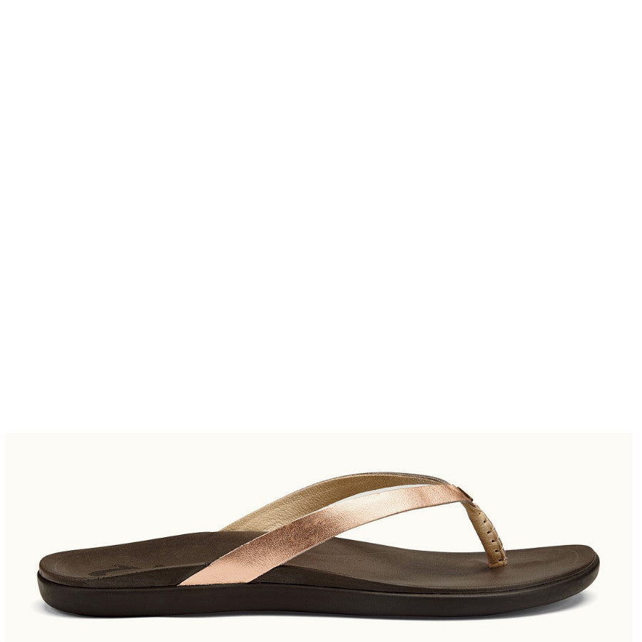 Olukai Women's Ho'Opio Leather Sandal - Copper/Dark Java 20290-CO48