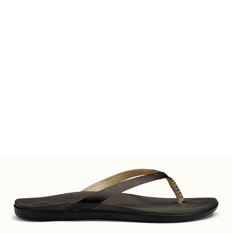 Olukai Women's Ho'Opio Leather Sandal - Onyx/Black 20290-OX40