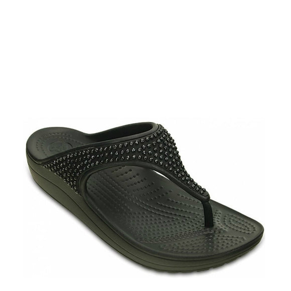 Crocs Women's Sloane Diamante Flip Flops - Black 203128-001 - ShoeShackOnline