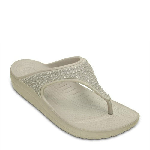 Crocs Women's Sloane Diamante Flip Flops - Platinum 203128-018 - ShoeShackOnline