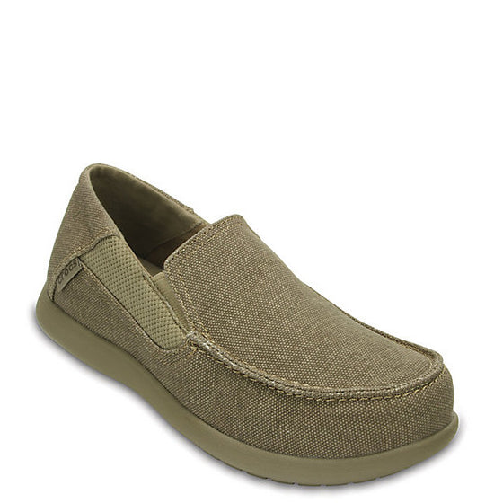 Crocs Kid's Santa Cruz II Loafer - Khaki/Cobblestone 204025-2U6 - ShoeShackOnline