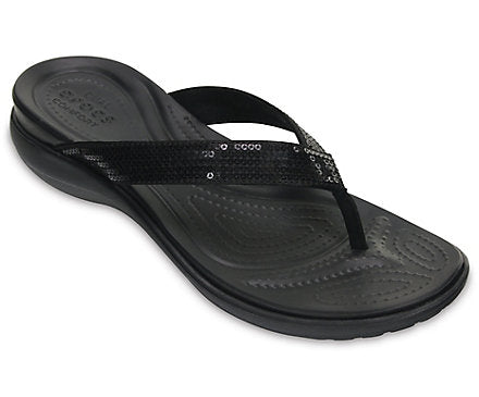 Crocs Women's Capri V Sequin Flip Flop - Black 204311-001