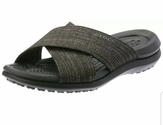 Crocs Women's Capri Shimmer Cross-Band Sandal - Black 204908-060 - ShoeShackOnline