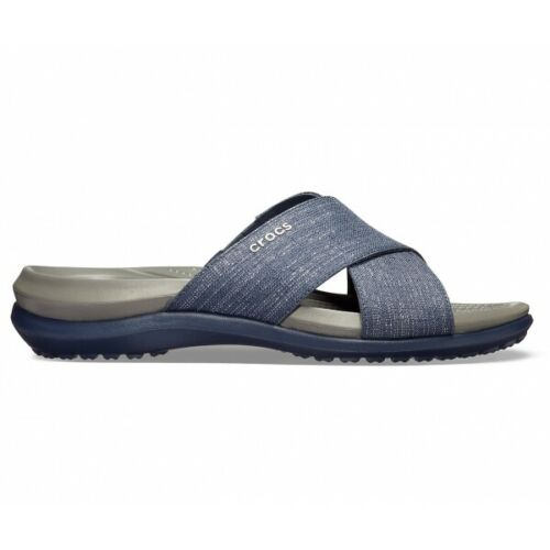 Crocs Women's Capri Shimmer Cross-Band Sandal - Navy/Slate Grey 204908-4HE - ShoeShackOnline