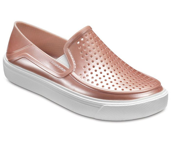 Crocs Kid's Citilane Roka Metallic Slip On Shoe - Rose Dust 205215-6OD