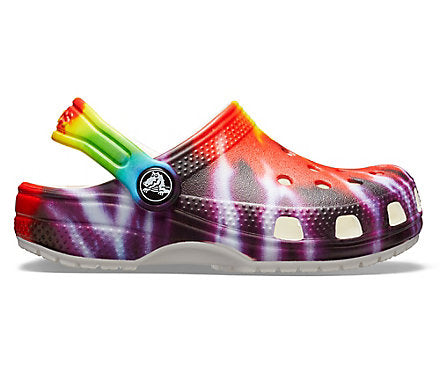 Crocs Kid's Classic Graphic Clog - Tie Dye 205451-90H - ShoeShackOnline