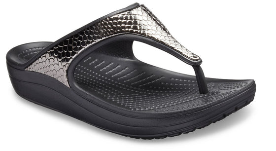 Crocs Women's Sloane Metallic Texture Flip - Gun Metal/Black 205604-0FG - ShoeShackOnline