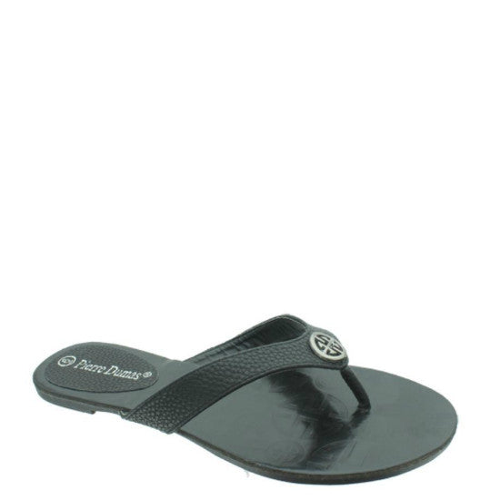Pierre Dumas Women's Flora-1 Thong Sandal - Black 21175-101 - ShoeShackOnline