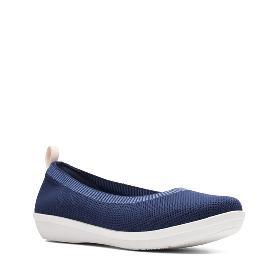 Clarks Women's Ayla Paige Slip On Shoe - Navy Knit - ShoeShackOnline