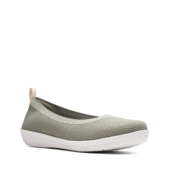 Clarks Women's Ayla Paige Slip On Shoe - Dusty Olive Knit - ShoeShackOnline