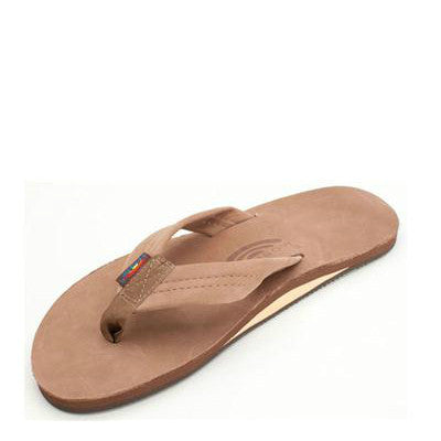 Rainbow Men's Single Layer Premier Leather Flip Flops - Dark Brown 301ALTS