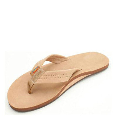 Rainbow Men's Single Layer Premier Leather Flip Flops - Sierra Brown 301ALTS - ShoeShackOnline