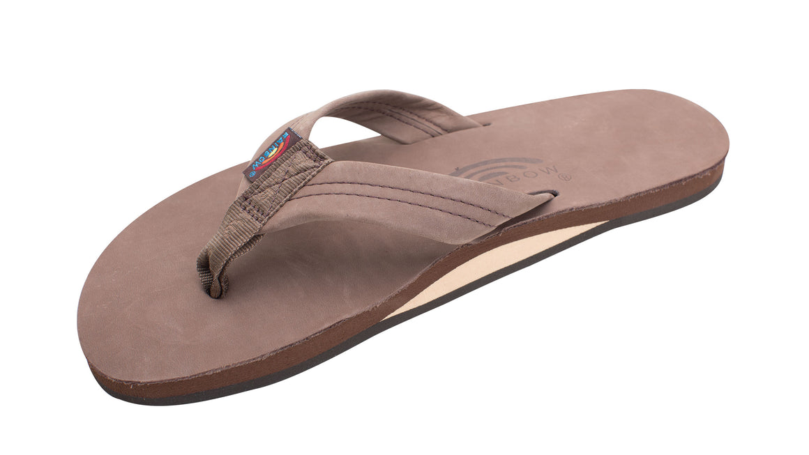 Rainbow Men's Single Layer Premier Leather Flip Flops - Expresso 301ALTS