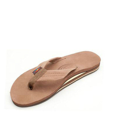 Rainbow Men's Double Layer Premier Leather Flip Flops - Dark Brown 302ALTS
