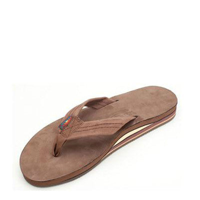 Rainbow Men's Double Layer Premier Leather Flip Flops - Expresso 302ALTS