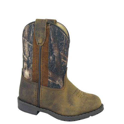 Smoky Mountain Toddler's Hopalong Western Boots - Brown Distress/Camo 3232T - ShoeShackOnline