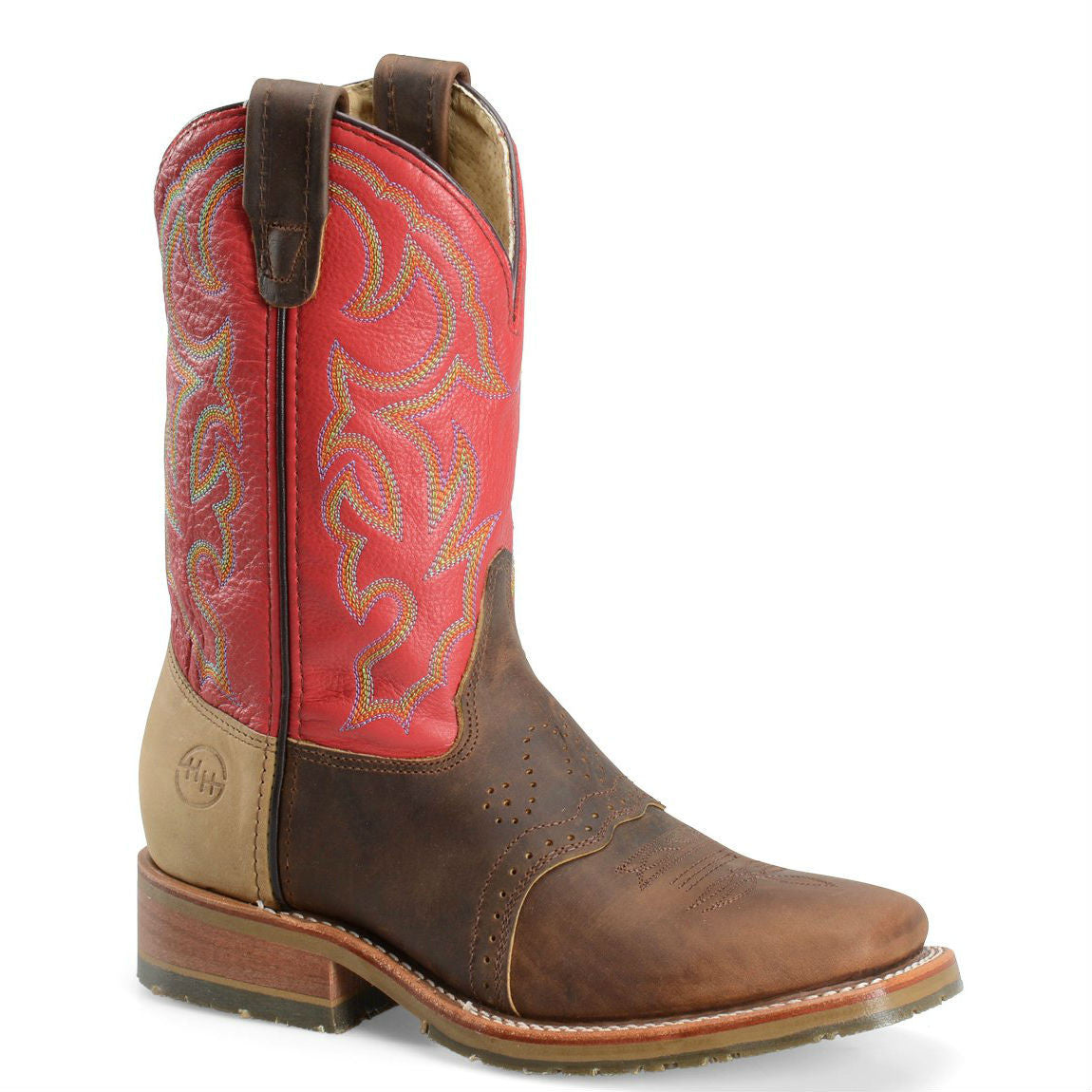 "Double-H Men's 11"" Domestic Wide Square Toe ICE™ Roper - Red/Brown/Tan DH3556 - ShoeShackOnline"