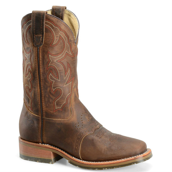 "Double-H Men's 11"" Domestic Wide Square Toe ICE™ Roper - Brown DH3560 - ShoeShackOnline"